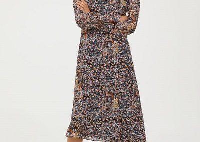 Vestido estampado de seda
