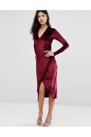 mujer-vestidos-asimetricos-club-l-vestido-a-media-pierna-de-terciopelo-con-escote-pronunciado-en-v-y-diseno-cruzado-asimetrico